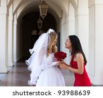 bride and her maid of honor...   Shutterstock . vector #93988639