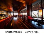 row of tables  red seats and... | Shutterstock . vector #93996781
