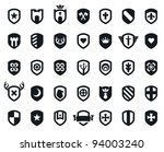 Set Of 35 Shield Icons With...