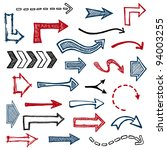 set of sketched arrow shapes on ... | Shutterstock . vector #94003255