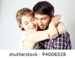 loving couple in romantic... | Shutterstock . vector #94008328