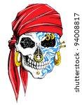 illustration of skull decorated ...   Shutterstock .eps vector #94008817