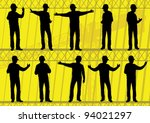 Engineers and builders silhouettes collection in construction site background illustration vector - stock vector