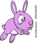 Crazy Insane Purple Bunny Rabbit Vector Illustration Art - stock vector