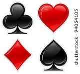 Set Of Shiny Card Suit Icons I...