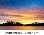 Silhouetted Sydney Australia Skyline - stock photo