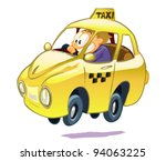 yellow taxi on a white... | Shutterstock .eps vector #94063225