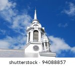 Laurentians Mountains Church Top in Montreal, Canada - stock photo