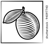 Black-white illustration / drawing of one plum which made as engraving technique. Can be used as element for label or as symbol. - stock vector