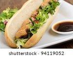Banh mi - Vietnamese tea smoked duck sandwich. - stock photo