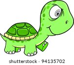 Toxic Crazy Green Turtle Vector Illustration Art - stock vector