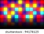 Colorful 80s club dancefloor background with glowing light grid - stock photo