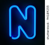 Highly detailed neon sign with the letter N - stock photo