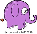 Crazy Purple Elephant Animal Vector Illustration Art - stock vector