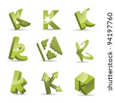Abstract Letter K Icon Symbol...