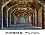 Arches to the ocean at Fort Jefferson at the Dry Tortugas National Park near Key West, Florida