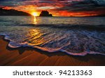 colorful ocean sunrise with... | Shutterstock . vector #94213363