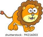 Crazy Orange Lion Animal Safari Wildlife Vector Illustration Art - stock vector