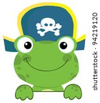 Cute Frog With Pirate Hat Over...