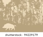 wild boar silhouette on wood... | Shutterstock .eps vector #94229179
