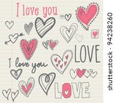 hearts i love you vector | Shutterstock .eps vector #94238260