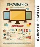 retro vector set of infographic ...