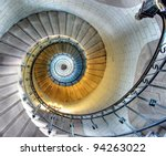 Upside view of a spiral staircase - stock photo