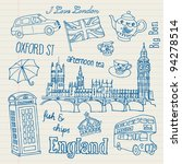 london icons doodles drawing... | Shutterstock .eps vector #94278514