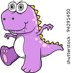 Crazy Insane Purple Dinosaur T-Rex Vector Illustration Art - stock vector