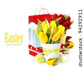 spring tulips with easter eggs  ... | Shutterstock . vector #94292911