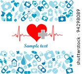heart cardiogram with heart.... | Shutterstock .eps vector #94298089