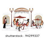 fashion people in cafe with a...   Shutterstock .eps vector #94299337