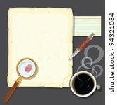 murder mystery detectives desk... | Shutterstock .eps vector #94321084