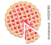 cherry pie and slice. elevated... | Shutterstock .eps vector #94324783