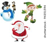 Christmas Character Set - stock vector