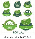eco labels with retro vintage... | Shutterstock .eps vector #94369069