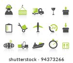 simple logistics and shipping icons green series - stock vector