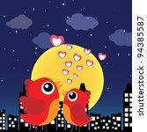 birds in love at night   Shutterstock .eps vector #94385587