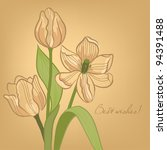 greeting card with tulips | Shutterstock .eps vector #94391488