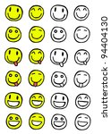 hand drawn set of smiles ... | Shutterstock .eps vector #94404130