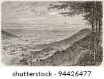 Small photo of Val d'Ajol old view from the Feuillee Dorothee, France. Created by Clerget, published on Le Tour du Monde, Paris, 1867