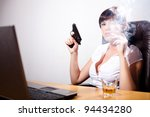 young businesswoman smoking a... | Shutterstock . vector #94434280