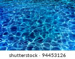 Resort pool water ripples in evening. - stock photo