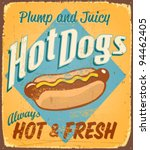 vintage tin sign   hot dogs  ... | Shutterstock .eps vector #94462405