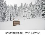 sign in a snowy forest  broader ... | Shutterstock . vector #94473940