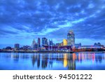 CINCINNATI – JANUARY 16: Sunrise over the skyline of Cincinnati, Ohio, January 16, 2012. Cincinnati is the third largest city in Ohio with a population of 296,943. - stock photo