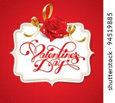 valentine card with rose and... | Shutterstock .eps vector #94519885