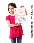 little girl with drawing for... | Shutterstock . vector #94523395