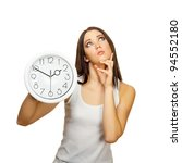 the girl with clock has... | Shutterstock . vector #94552180