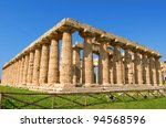details of temples in paestum salerno, italy - stock photo